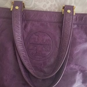 TORY Burch Purple Leather Tote